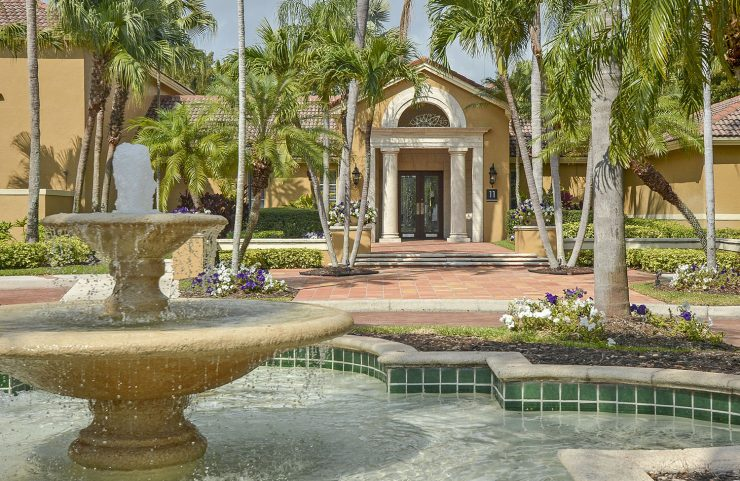 large fountain by the pool area
